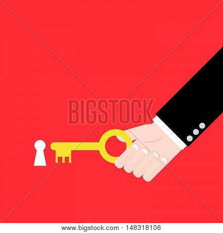 Hand Inserting Key In Keyhole