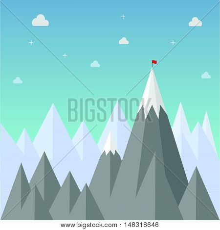Target to success. Flag on top of mountain. Flat design for business financial marketing banking advertising web commercial concept cartoon illustration.