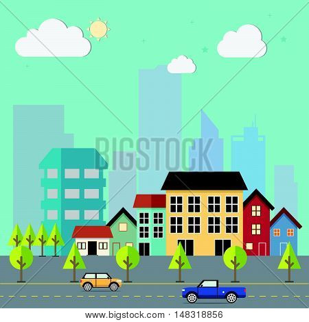 Town flat design urban landscape illustration. Cityscape sets with various parts of a city: small towns or suburbs and downtown silhouettes.