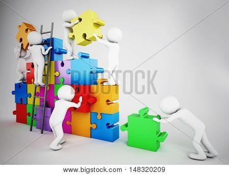 White people build a company with puzzle. Concept of parthership and teamwork. 3D rendering