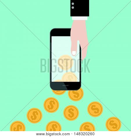Money transfer with hand coin and smart phone. online shopping. mobile banking. Flat design business financial online marketing banking commerce vector concept cartoon illustration.