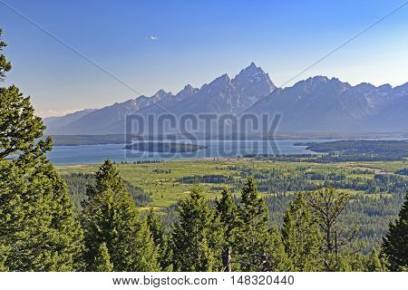 Evening Light on the Dramatic Peaks of the Grand Tetons in Wyoming