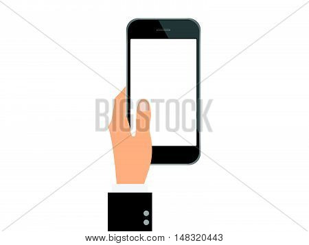 Smartphone device isolated with hand and blank white screen. Flat design business financial marketing banking concept cartoon illustration.