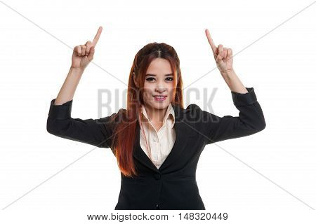 Young Asian Business Woman  Point To Blank Space.