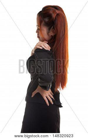 Young Asian Business Woman Got Back Pain.