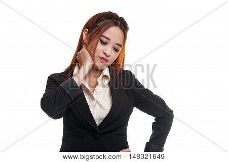 Young Asian Woman Got Neck Pain.