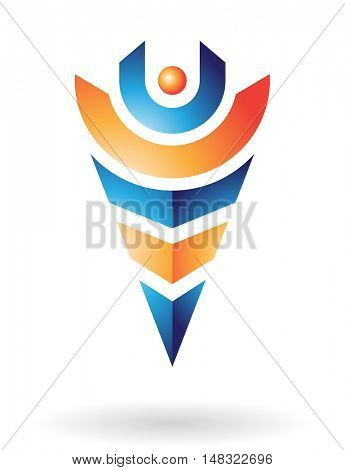 Abstract icon and line in various colors