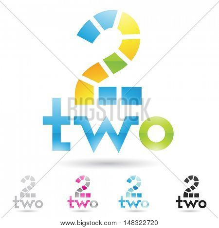 illustration of colorful and abstract icons for no two