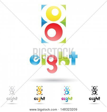 illustration of colorful and abstract icons for no eight
