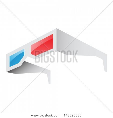 Illustration of 3d Red and Blue Glasses isolated on a white background