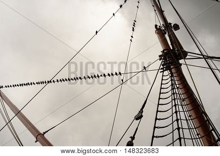 Ship Rigging And Sail Rope With Masts