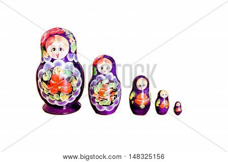 Row Of Russian Matryoshka Dolls