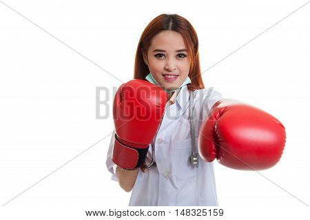 Young Asian Female Doctor Punch With Boxing Glove.