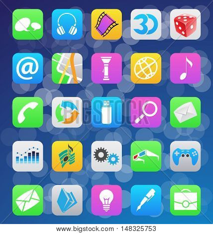 illustration of ios 7 style mobile app icons