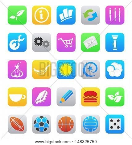illustration of various ios 7 style mobile app icons isolated on a white background