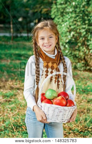 Little Girl Holding A Basket Of Apples