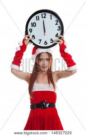 Asian Christmas Santa Claus Girl  And Clock At Midnight.