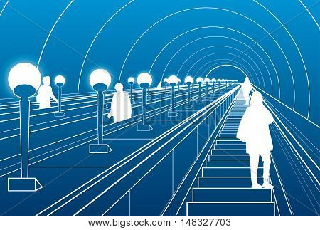 Metro escalator, people walking down the stairs, white lines on blue background, vector design art