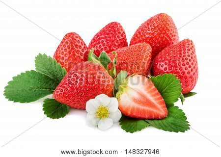 Strawberry. Organic strawberries with leaves and plant flower isoalted on white.