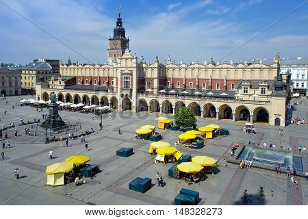 Famous Cloth Hall called Sukiennice at the Main Market Square in historical center of Krakow. Poland.