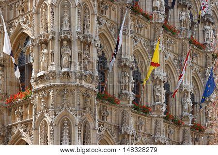 Fragment City Hall in historical center of Leuven. Belgium