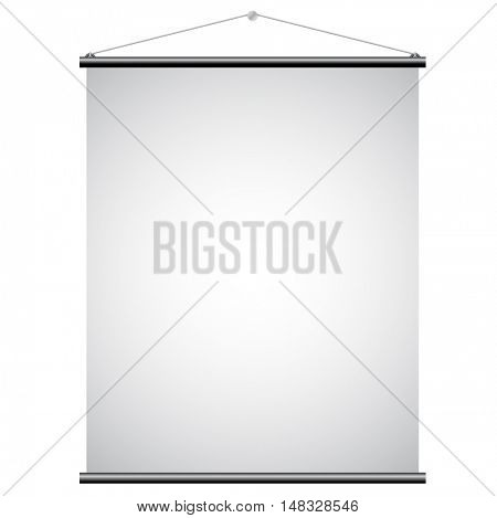 Illustration of White Promotional Canvas Banner isolated on a white background