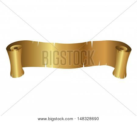 Illustration of Golden Curly Banner isolated on a white background
