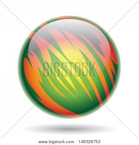Illustration of Green and Yellow Planet Sphere isolated on a white background