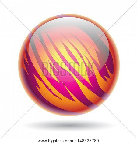 Illustration of Magenta and Yellow Planet Sphere isolated on a white background