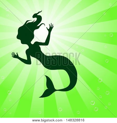 Illustration of Mermaid Underwater isolated on a white background