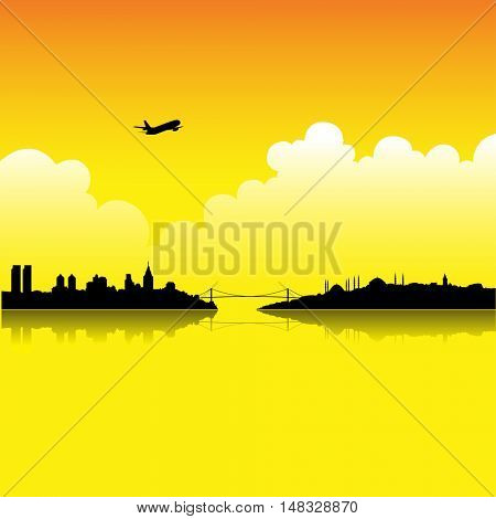 Illustration of Istanbul at Sunset isolated on a white background