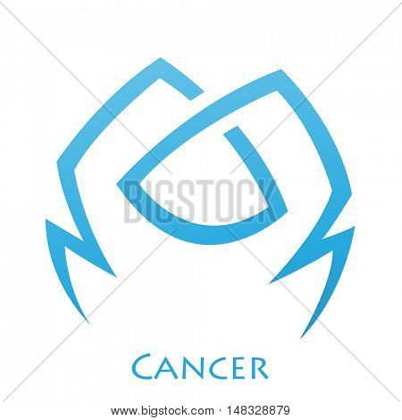 Illustration of Simplistic Lines Cancer Zodiac Star Sign isolated on a white background
