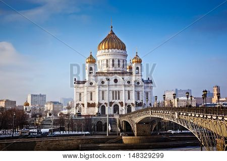 The Cathedral of Christ the Savior in Moscow city, Russia. Winter view