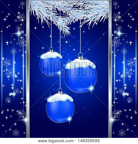 Christmas and New Year blue vector background with luxury balls, snow and fir twigs