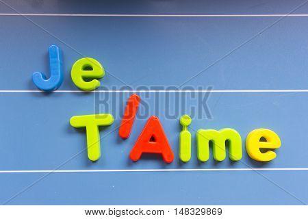 Love on the blackboard: je t'aime, french