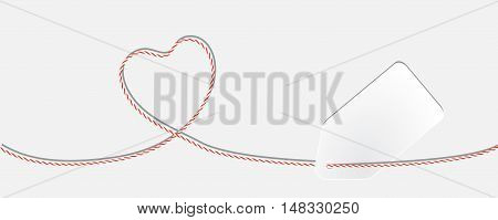 Card with twine lace heart and white paper tag, copy place, vector illustration EPS 10
