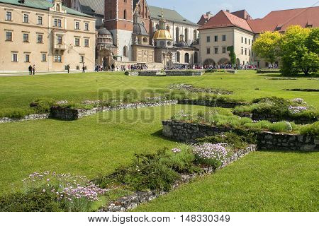 Foundation of the St. Michael's Chapel and Stanislaw Borek House as part of the complex Wawel Castle in Krakow.