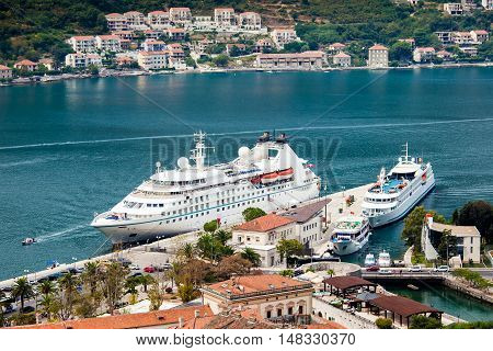 Cruise ship in port. Kotor Bay in Montenegro
