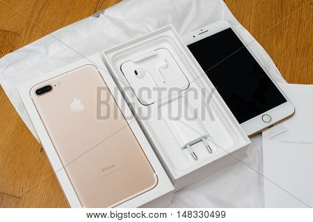 PARIS FRANCE - SEP 16 2016: New Apple iPhone 7 Plus unboxed in the first day of sales - full unboxing new Earpods and accesories. New Apple iPhone claims to become the most popular smart phone in the world in 2016