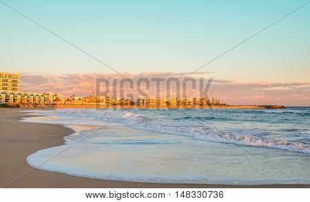 Beautiful skyline of Mandurah and beach view at sunrise. Western Australia near Perth