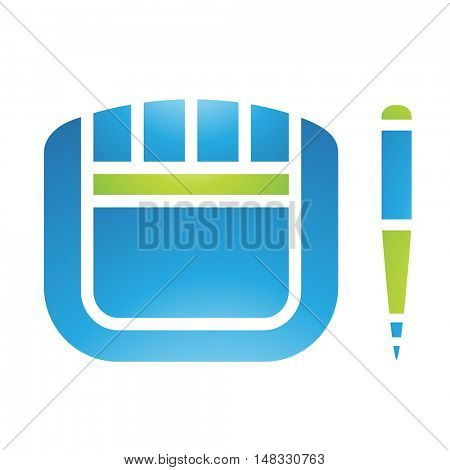Illustration of PC Accessories Graphic Tablet and Stylus isolated on a white background