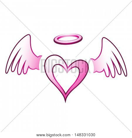 Illustration of Angel Heart and Wings isolated on a white background