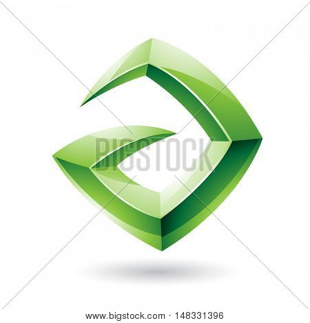 Illustration of a 3d Sharp Glossy Green Shape based on Letter A