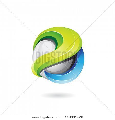 illustration of a 3d glossy shape in green, blue and grey colors