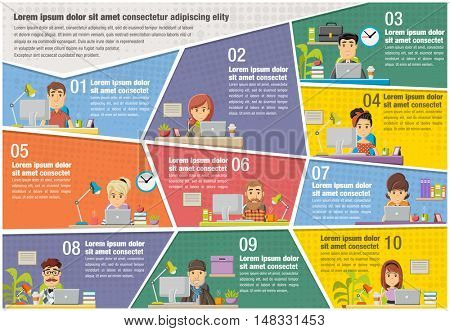 Vector brochure backgrounds with cartoon business people working on office. Infographic template design.