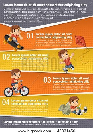 Vector brochure backgrounds with happy cartoon boy playing. Infographic template design.