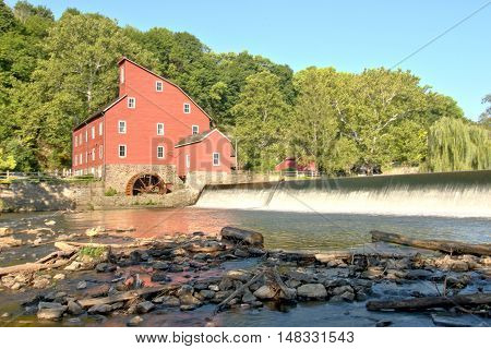The historic landmark Red Mill Clinton Hunterdon County New Jersey USA built in 1810 to process wool