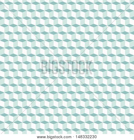 Geometric mint green pattern with cubes in op art style. Bold geometric techno print with blocks. Simple monochrome tech texture for fall winter fashion and textile design. Graphic geometric print