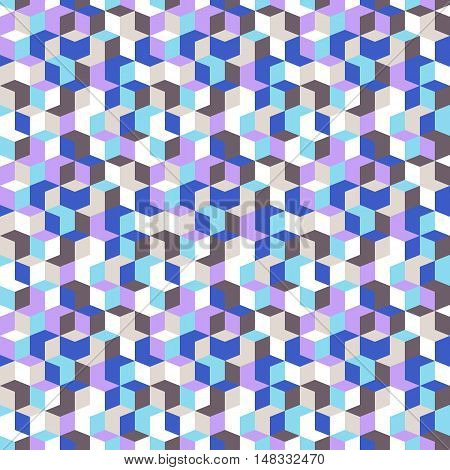 Vector geometric seamless pattern with diamond shapes in pastel blue color. Modern op art print with random mosaic cubes for fall winter fashion. Abstract techno memphis check background
