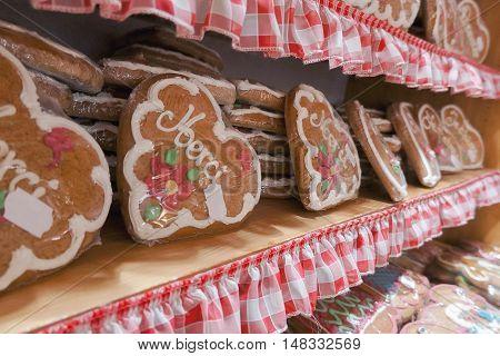 Traditional european xmas ginger cake. Heart shape. Thanks.
